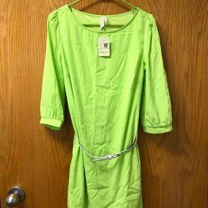 Pink Owl Lime Green Sheath Dress